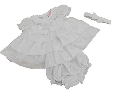 BNWT Baby-Sommerkleid mit Rüschen, Lochstickerei, Spanischer Stil Gr. 6-9 Monate, weiß
