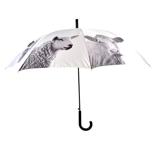 Esschert Design Regenschirm Bauernhoftiere aus Polyester/Stahl, Ø 120 x 94,5 cm, Kunststoffgriff, mit verschied. Tiermotiven, weiß-schwarz