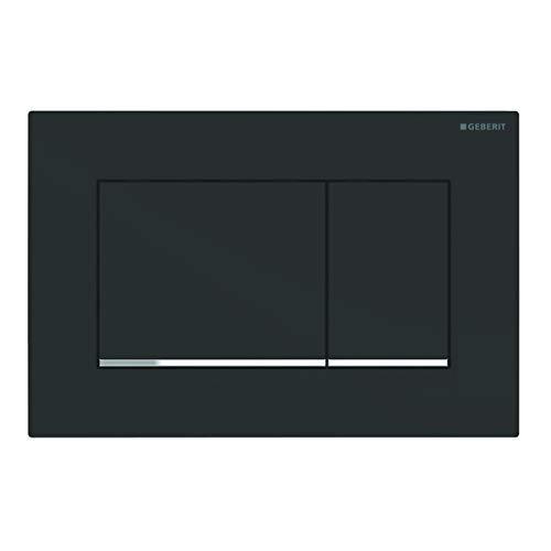 Geberit Betätigungsplatte Sigma 30 (für 2-Mengen Spülungen, Betätigung von vorne, Platte +Tasten schwarz, Streifen chrom) 115883141