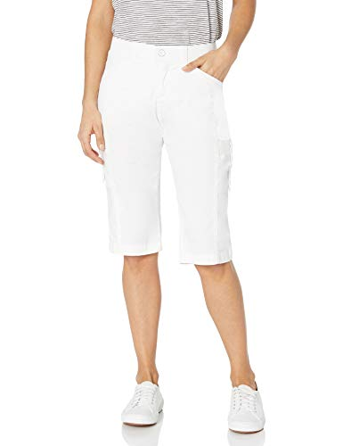 LEE Women's Flex-to-Go Relaxed Fit Cargo Skimmer Capri Pant, White, 18