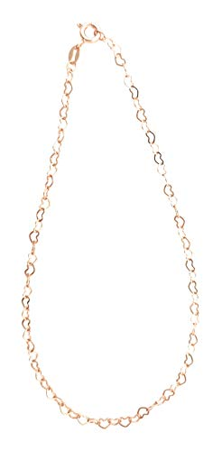 10.5 Inch Extra Large Chain of Continuous Small Open Hearts 9ct Rose Gold on Sterling Silver Anklet/Ankle Bracelet/Ankle Chain - Adjustable 10 to 10.5 Inch / 25 to 27 cm - Anklets for Women