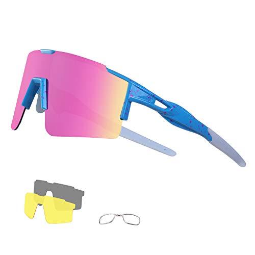 DUDUKING Sportbrille Fahrradbrille Sonnenbrille für Herren und Damen mit 3 Wechselobjektiven TR90 UV405 Schutz Windschutz Radsportbrille für Outdooraktivitäten Autofahren Fischen Laufen Wandern