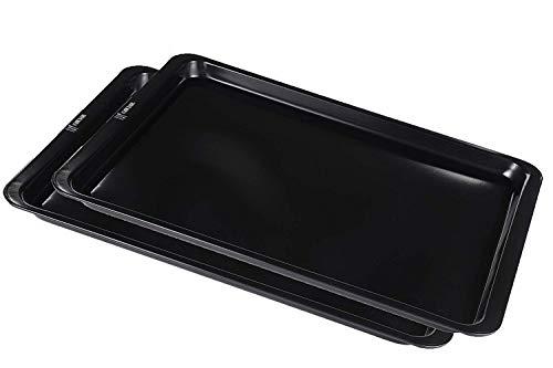 AtHomeBaking - Non-Stick Baking Tray - Cookie Sheets - Cookie Sheet Set - Cookie Sheet - 15x10 inch (2 Pack, Black)