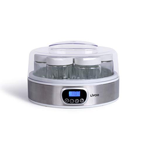 Yogurtiera con 7 bicchieri con coperchio, per yogurt elettrico, con timer incluso, per yogurt con bicchieri da yogurt e yogurt fai da te, display digitale, spegnimento automatico