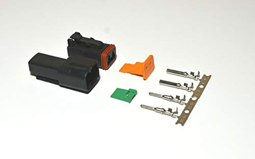 Deutsch 2-pin Black 14-16AWG Connector Kit Crimp Style Contacts