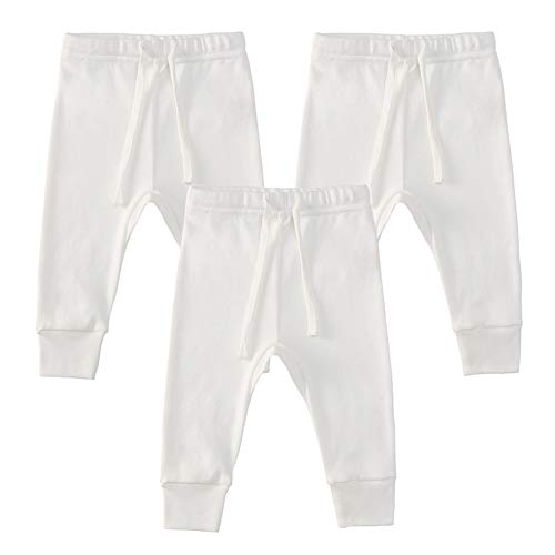 Owlivia Organic Cotton Baby Boy Girl 3-Pack Wiggle Pants Jogging Pants (3pack Off-White, 0-3Months)