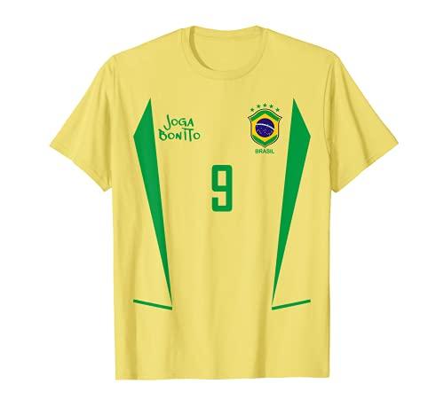 Brasilien Fußball Retro Trikot 9 Joga Bonito T-Shirt