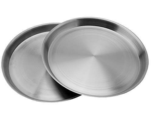 Heavy Duty Stainless Steel Plates (2-Pack); 8.3 Inch Diameter Round Metal Plates Great for Kids, Lunches, Portion Control, Camping, More