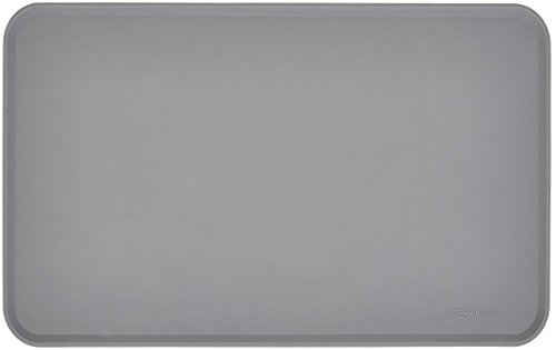 AmazonBasics Waterproof Anti-Slip Silicone Pet Food and Water Bowl Mat - Pack of Two, 18.5 x 11.5 Inches, Grey