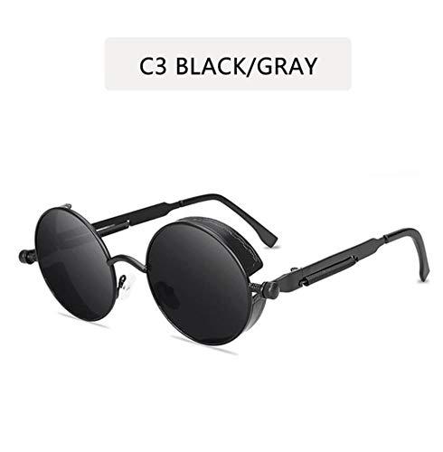 YUFUD Sonnenbrille Metall Steampunk Sonnenbrille Männer Frauen Mode Runde Brille Brand Design Vintage Sonnenbrille C. D