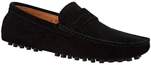 JIONS Men's Driving Penny Loafers Suede Driver Moccasins Slip On Flats Shoes Low Top Slip-ons A- Black 12 D(M) US/EU 48