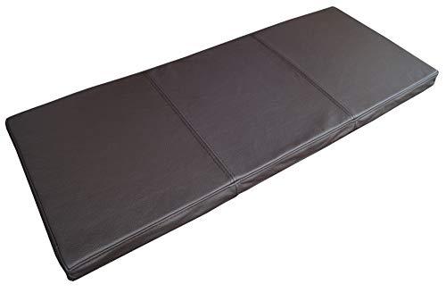 Quattro Meble Dunkelbraun Echtleder Bankauflage Sitzkissen Lederkissen Sitzpolster Bank Auflage doppelt genähtes Echt Leder Kissen Sitzauflage (40 x 80 cm)