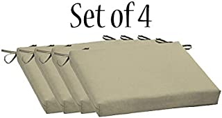 Comfort Classics Inc. Outdoor/Indoor Beige seat pad Set of 4 Chair Cushion 20 X 20 X 3.5