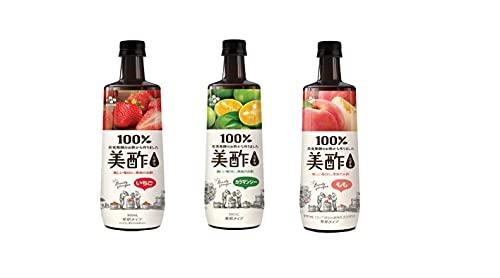 【3本セット】プティチェル 美酢ミチョ カラマンシー、いちご、もも 900ml 3本セット