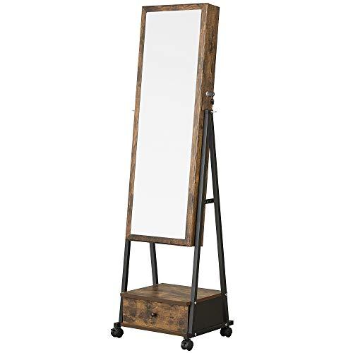 SONGMICS Jewelry Cabinet Floor Standing, Lockable Jewelry Organizer with High Full-Length Mirror, Bottom Drawer, Shelf, Wheels, Rustic Brown and Black UJJC004X01