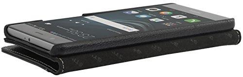 StilGut Talis Schutz-Hülle für Huawei P9 Plus mit Kreditkarten-Fächern aus echtem Leder. Seitlich aufklappbares Flip Case in Handarbeit gefertigt für das Original Huawei P9 Plus, Schwarz - 6