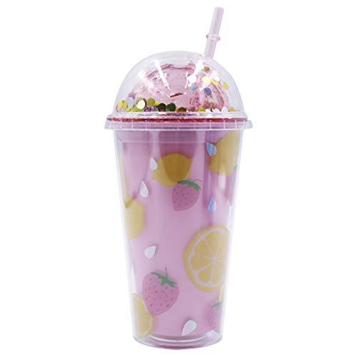 Botella de agua de 450 ml para niños, vaso de doble pared con purpurina taza de viaje con tapa y pajita, lentejuelas té café tazas Bpa gratis beber taza para regalo y fiesta