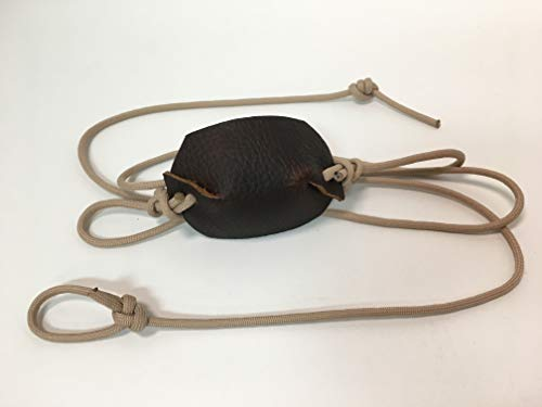 Desert Sand Paracord and Leather Cupped Pouch Shepherd Sling Handmade by David The Shepherd