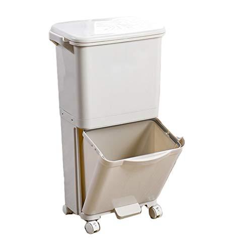 Mülleimer Poubelle Abfalleimer Wheel Waste 2 Schicht 38L Pedal Typ Mit Deckel Papierkorb Schmale Küche Wohnzimmer Badezimmer Rollsnownow