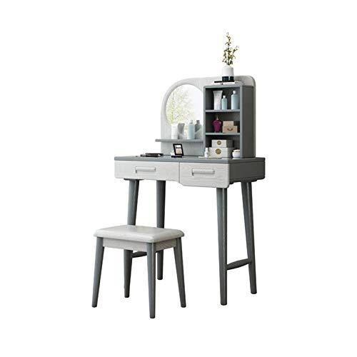 ACD Tavolo da toeletta per Ragazza Tavoli da Trucco Dressing Table Governo di Immagazzinaggio Integrato Specchio da Toilette Sgabello Trucco Scrivania (Color : Gray+White)