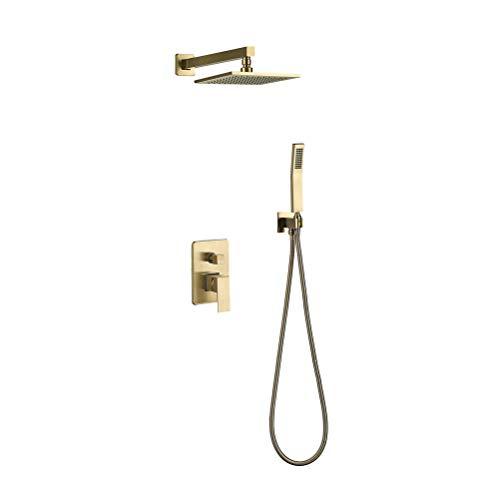 Monomando Grifo de ducha Empotrado Latón Dorado Para Mezclador de Brazo de Ducha Pared 8-10 Pulgada Sistema de ducha Set Con Cabezal de ducha cuadrado y Manguera de ducha,10Inch