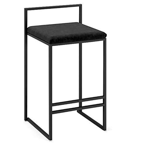 LHDQ Iron Art Barhocker Soft Flanell Sitzkissen Beine Schwarz Metall Barhocker für Home Counter Küche Frühstück Pub, Schwarz,66cm