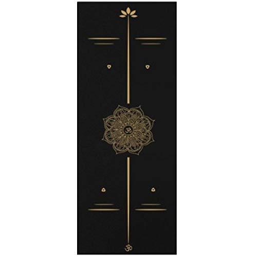 Yoga mat LKU Hoogwaardige luxe gouden bedrukte yogamat 183 * 68cm yogamat rubberen suède antislip Pilates, blauw