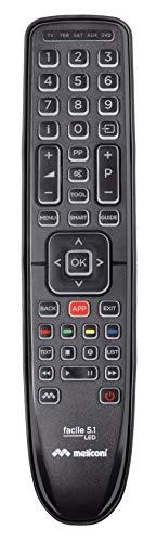 Meliconi Facile 5.1 LED telecomando universale 5 in 1 con corpo in gomma e tastiera retroilluminata. Ideal eper Tv Smart. Assistenza telefonica. Aggiornabile via Web