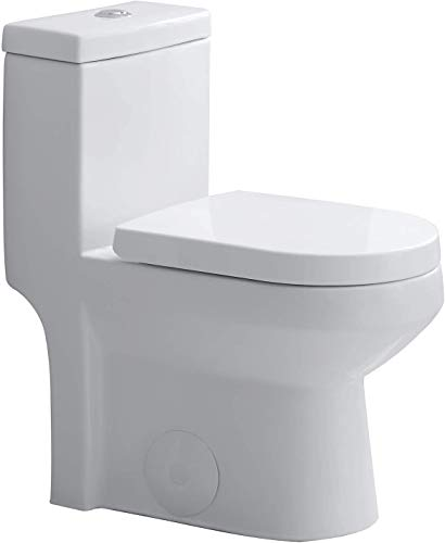 HOROW HT1000 Small 1-Piece Toilet Short Compact Bathroom Tiny Mini Commode Water Closet Dual Flush Concealed Trapway Seat Included, 12'' Rough-in