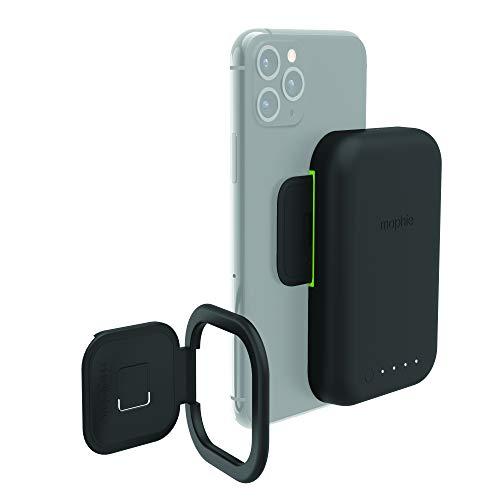 Mophie Juice Pack Connect Compact - Contiene una batería portátil de 3000 mAh con soporte de doble propósito - Hecho para teléfonos inteligentes habilitados para Qi - Negro