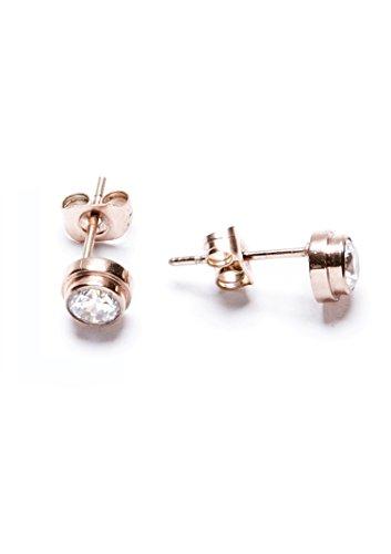 Happiness Boutique Damas Pendientes de Botón Minimalistas con Diamantes de Imitación | Pendientes de Botón Delicados en Oro Rosa Libres de Níquel