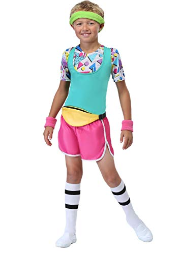 Boy's Work It Out 80's Workout Outfit with pink shorts, belt bag, headband, wristbands, tank top and shirt