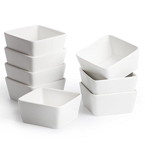 8 oz Square, Porcelain Ramekin Dipping Bowls.