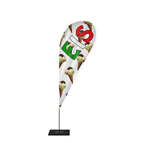 Beachflag Eis Werbefahne Fahne Strandfahne mit Mast 4 Größen 3 Modelle Motiv 3 (L, Tropfen)