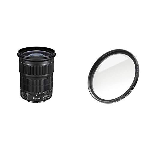Canon Zoomobjektiv EF 24-105mm F3.5-5.6 is STM für EOS (77mm Filtergewinde, Bildstabilisator, APS-C Sensor, Autofokus) schwarz & Walimex Pro UV-Filter Slim MC 77 mm (inkl. Schutzhülle)