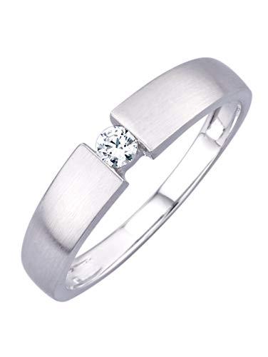 KLiNGEL Damen 585 Weißgold Ring in Weiß mit Brillant in Weiß