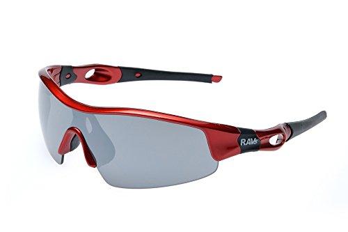 Ravs Gafas de ciclismo, gafas de ciclismo, gafas deportivas, gafas de sol gravelbike (cristal rojo polarizado)