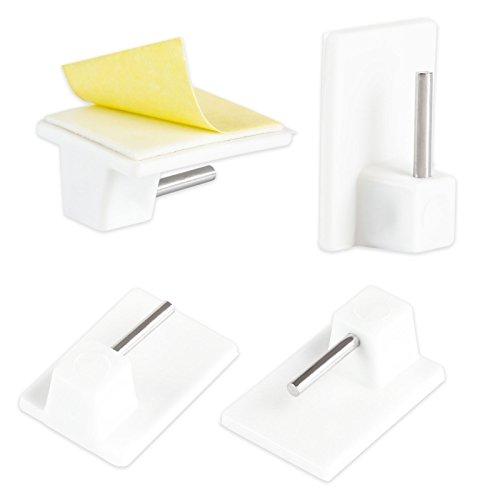 LIHAO 20x Gardinenhaken Klebehaken Selbstklebend Haken Weiß für Gardinenstangen Vitragestangen Gardinenhalter