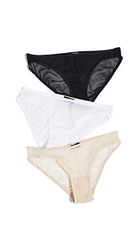 Cosabella Women's Soire Bikini 3 Pack, Black/White/Blush, Medium