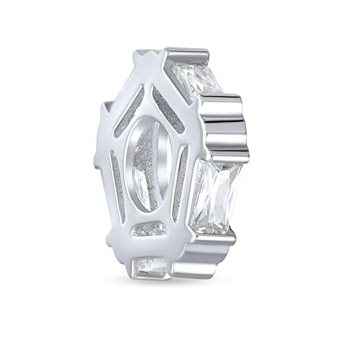 Geometric Baguette Clear CZ Thin Spacer Bead Charm Cubic Zirconia .925 Sterling Silver Simulated Sapphire Fits European Bracelet