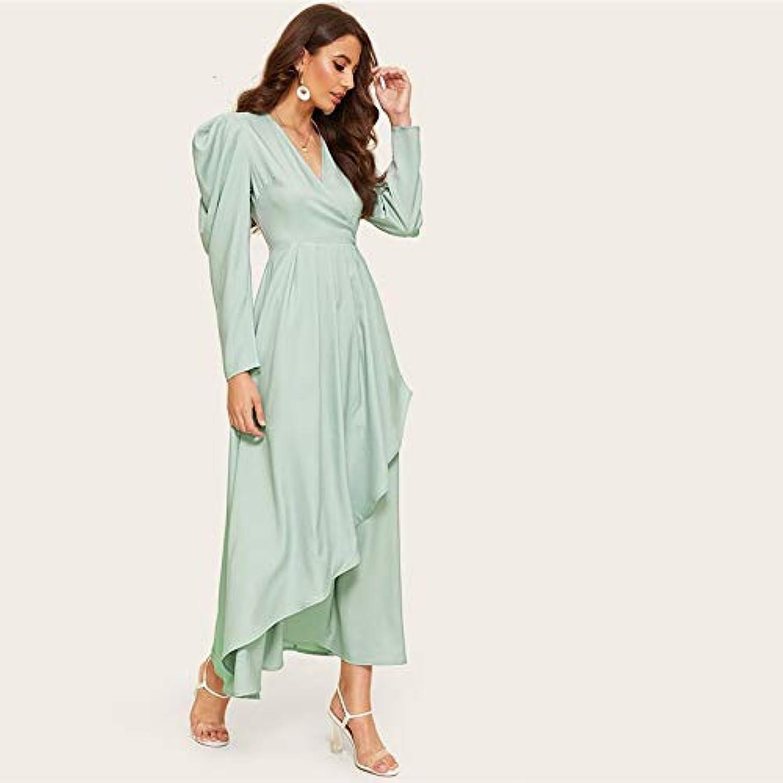 XGDLYQ grünen Hals gesammelt hülse asymmetrische PlainDress Frauen v-Ausschnitt hauchhülsehohe Größe Lange eineLinie Dress