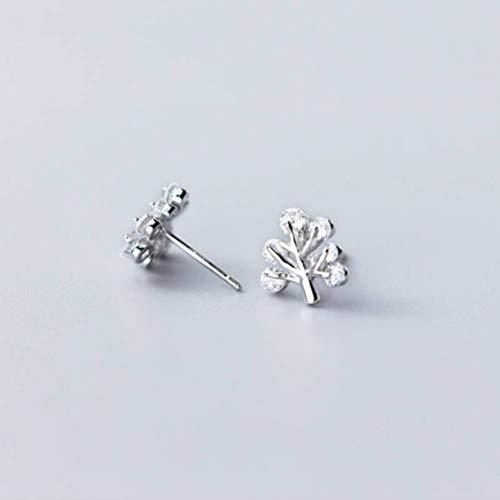 WOZUIMEI S925 Hongo Blanco Uñas Femenino Estilo Coreano Simple Lindo Árbol Rama Diamanteplata