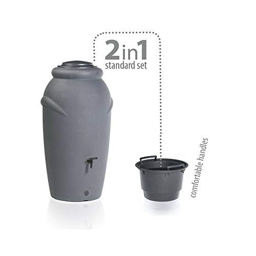 Looping-Lu Regentonne 210 Liter mit Wasserhahn und Pflanzkübel Anthrazit