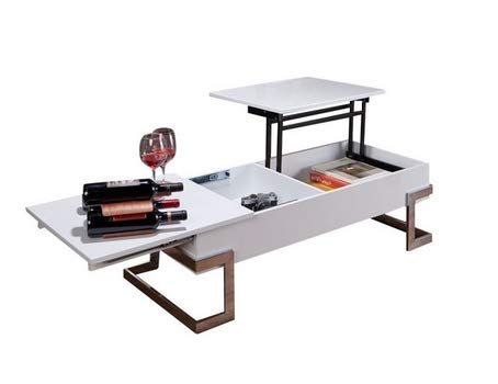 Lift Top Rectangular with Storage Coffee Table in White and Chrome