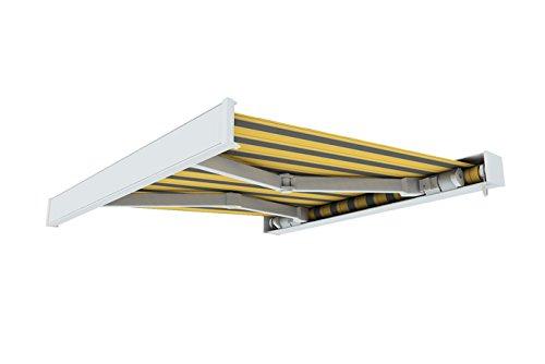 paramondo Kassettenmarkise Line, 3,5 x 3 m, Gestell: weiß, Stoff: Block, gelb-grau