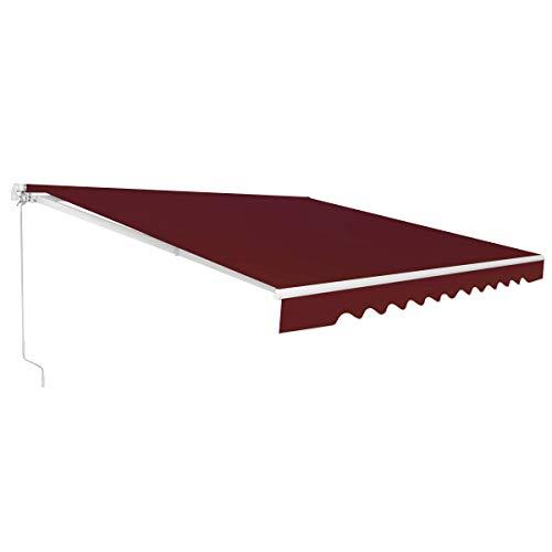COSTWAY Markise mit kurbel, Balkonmarkise Sonnenschutz, Gelenkarmmarkise Sonnenmarkise Terrassenmarkise, Klemmmarkise für Balkon und Veranda (300x250cm, Weinrot)
