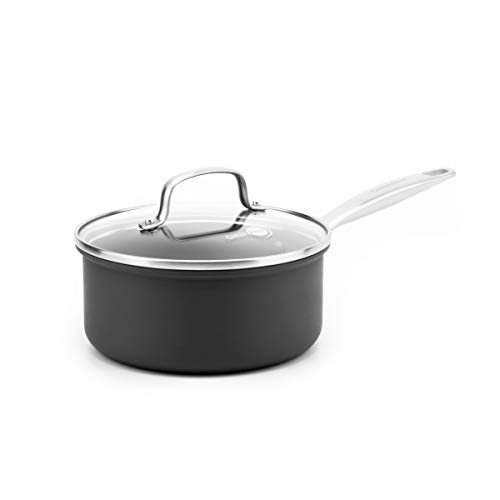 GreenPan Chatham Ceramic Non-Stick Covered Saucepan, 3 quart, Grey -
