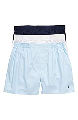 Polo Ralph Lauren Classic Fit Woven Cotton Boxers 3-Pack, XL, Navy/Blue/White