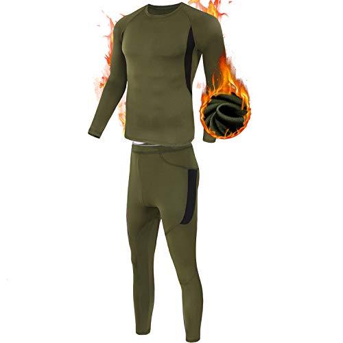 ESDY Thermo-Unterwäsche-Set für Herren, Wicking Long Johns Quick Dry Basisschicht-Sport-Kompressionsanzug für Workout Skifahren Laufen,Grün,L