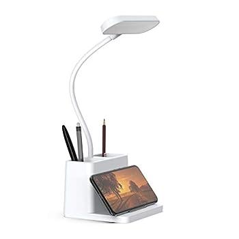 LED Desk Lamp with Pen Holder AXX Desk Light for Computer/Desktop - White Rechargeable Eye-Caring Flexible Gooseneck - Bedside Table Lamp for Reading Small Study Lamp for Kids Home Office Dorm